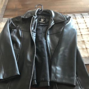 Black 100% Polyurethane Girl's Jacket